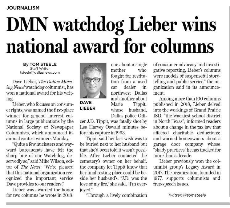 NEWS! Dave Lieber column wins top prize in 2019
