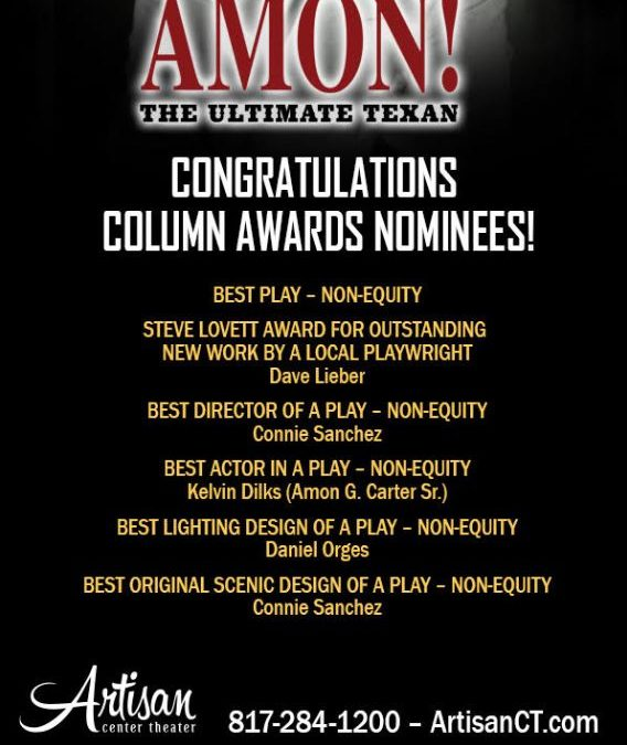 "Dave Lieber's new hit play on Amon ""Mr. Fort Worth"" Carter nominated for six awards, including Best Play"